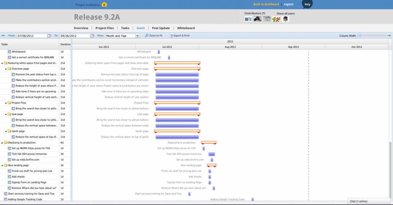binfire project management screenshot